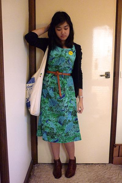 black cotton on cardigan - blue vintage dress - brown Dotti belt - white Sportsg