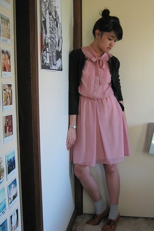 vintage dress - Kookai cardigan - OWN socks - vintage from Ebay shoes