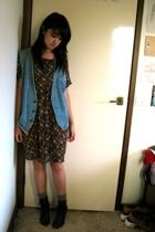 thrifted dress - Mums vest - socks - jeffrey campbell lace up boots