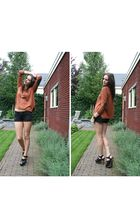 black Zara clogs - brown H&M sweater - black H&M shorts