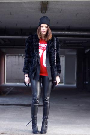 acne boots - vintage coat