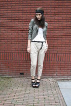 green Only jacket - black Zara shoes - beige Zara pants - white asos top
