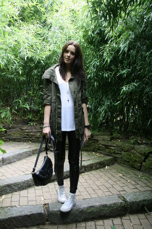 black Topshop pants - green Bershka jacket - white Converse shoes - black Primar