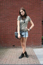 green Zara t-shirt - blue H&M shorts - black Zara shoes - black Primark purse