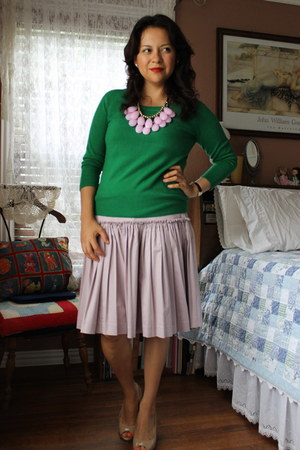 Anthropologie skirt - DSW shoes - f21 sweater - kie & kate necklace
