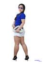 Tan-wedges-black-purse-white-shorts-aviator-sunglasses-blue-top