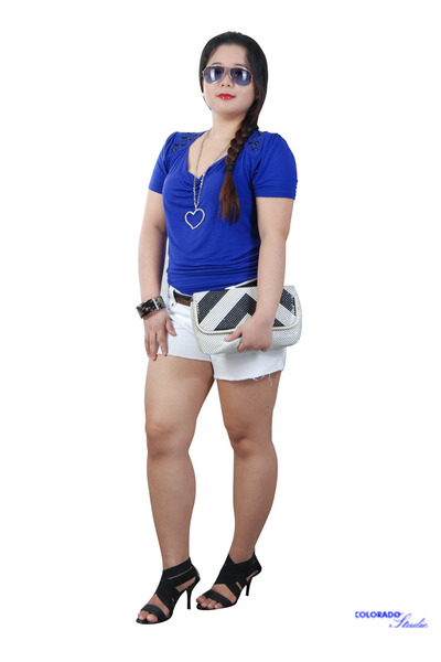 black purse - white shorts - black aviator sunglasses - bandage heels - blue top