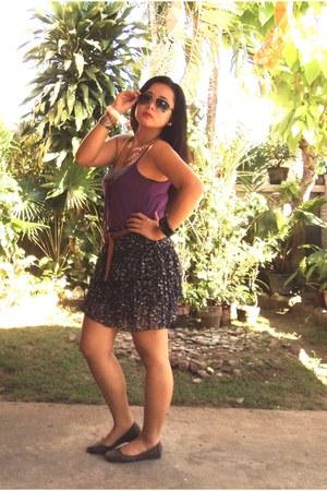 purple ruffled floral skirt - tawny belt - deep purple top - dark brown flats