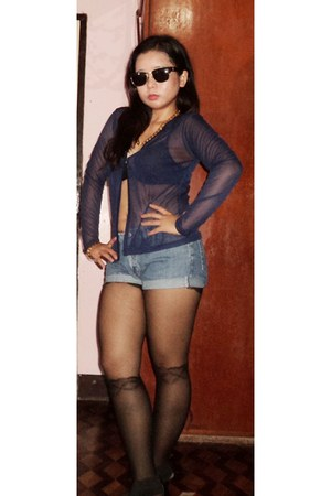 black bra - blue shorts - navy sheer cardigan - black stockings - black heels