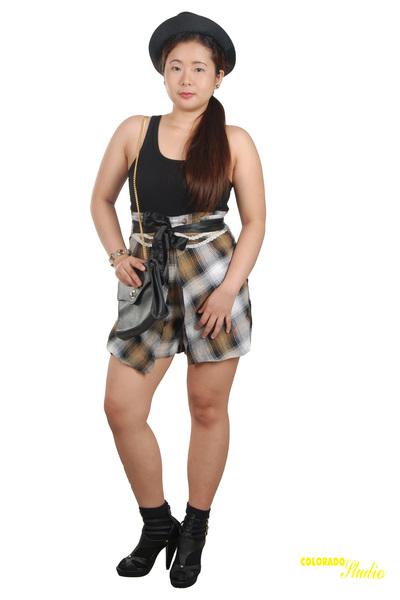 black hanford shirt - brown shorts - black Centropell shoes - black no brand soc