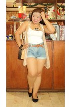 black shoes - neutral bag - blue shorts - white top - nude vest - necklace
