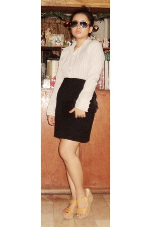 off white blouse - black skirt - tawny wedges