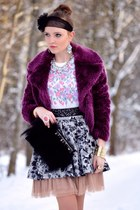 purple Orsay coat - heather gray H&M skirt