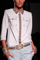 white Balmain blouse