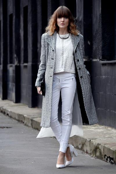 white Zara blouse - white Bershka pants