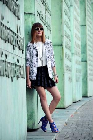 black romwe sunglasses - white romwe blazer
