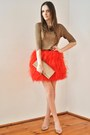 Carrot-orange-zara-skirt