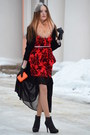 Red-orsay-dress-light-pink-bershka-scarf