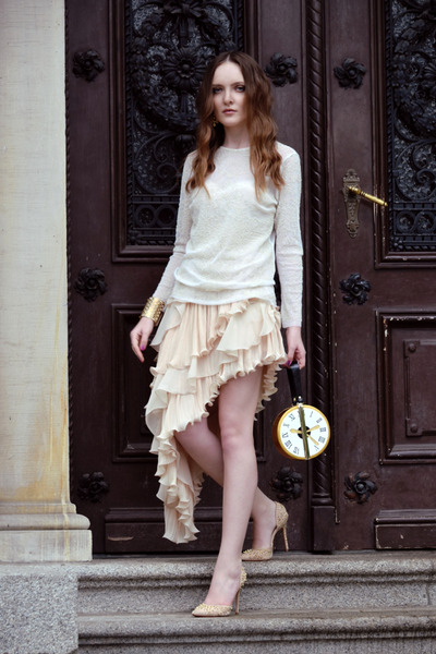 cream Chicwish skirt - ivory Zara blouse