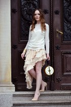 cream Chicwish skirt - ivory Zara blouse