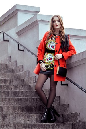 carrot orange Sheinside coat - black romwe dress