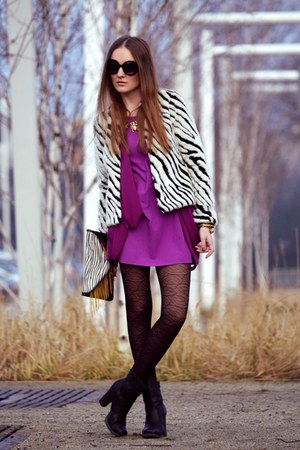 white H&M coat - magenta River Island dress