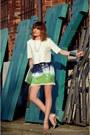 Chartreuse-zara-skirt-white-zara-blouse