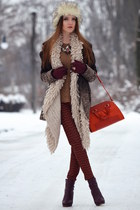 brown Bershka coat - carrot orange Zara bag