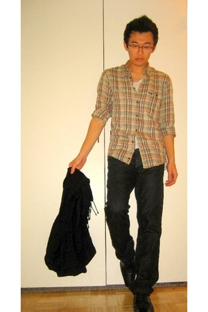 beige Missoni shirt - black dior homme jeans - black scarf - black Zara shoes