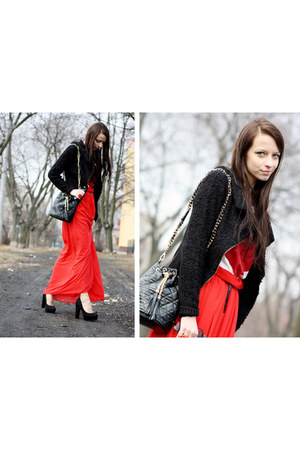 VJ-style bag - avaro skirt - deezee heels - Glamorous blouse - Shoppalu cardigan
