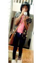 accessories - gray jacket - pink shirt