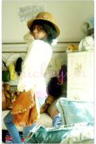 brown purse - yellow sweater - purple top - blue jeans - black Steve Madden shoe