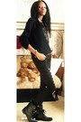 Black-combat-boots-boots-black-jeans-black-fox-design-sweater-brown-belt
