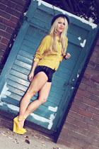 mustard shirt One Teaspoon shirt - black shorts One Teaspoon shorts