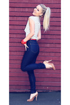navy high waisted jeanswest jeans - white vintage top