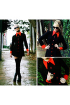 ruby red vintage coat - black American Apparel socks