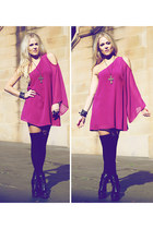 black betts boots - magenta Azuki dress - black American Apparel socks