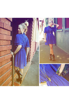 blue vintage dress - black studded boots betts boots