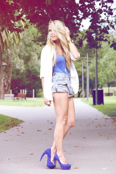 blue platform heels tony bianco heels - ivory blazer Dotti blazer