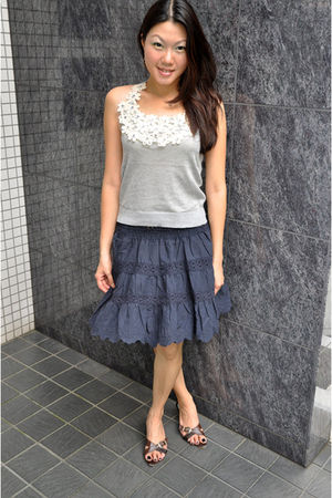 silver MokaTrsors top - blue MokaTrsors skirt - brown random shop in Shibuya sho