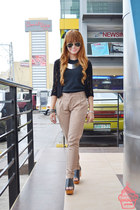 black rayban sunglasses - silver TLB necklace - camel Local store pants