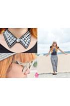 dark gray Quia necklace - black Bratt shirt - silver rayban glasses