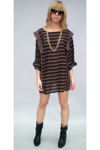 brown vintage 80s dress