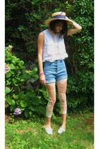 blue Era of Chaos shorts - beige JCrew necklace