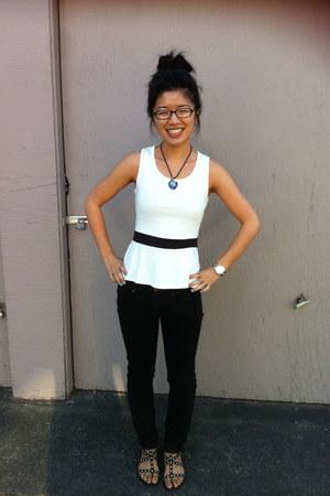 white Nordstrom BP blouse - black Steve Madden sandals - gold Michael Kors watch