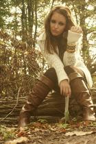 Prada boots - coach bracelet - Old Navy sweater