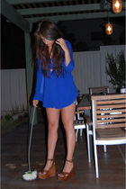 blue olive olivia blouse - blue Old Old Old Navy shorts - brown Jeffrey Campbell