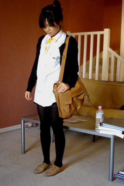g2000 sweater - Lacoste shirt - Sportsgirl purse - Windsor Smith shoes - shorts