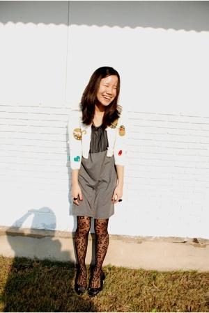 Little Wacoal jacket - Walk with grandma on well-lit street dress - stockings -