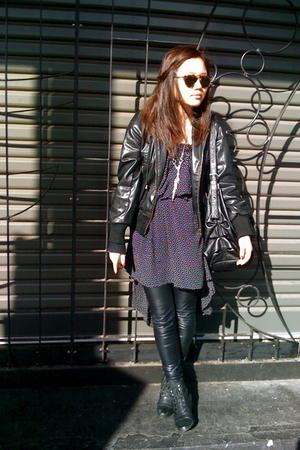 Karen Walker sunglasses - vintage dress - jacket - Nooz leggings - vintage boots